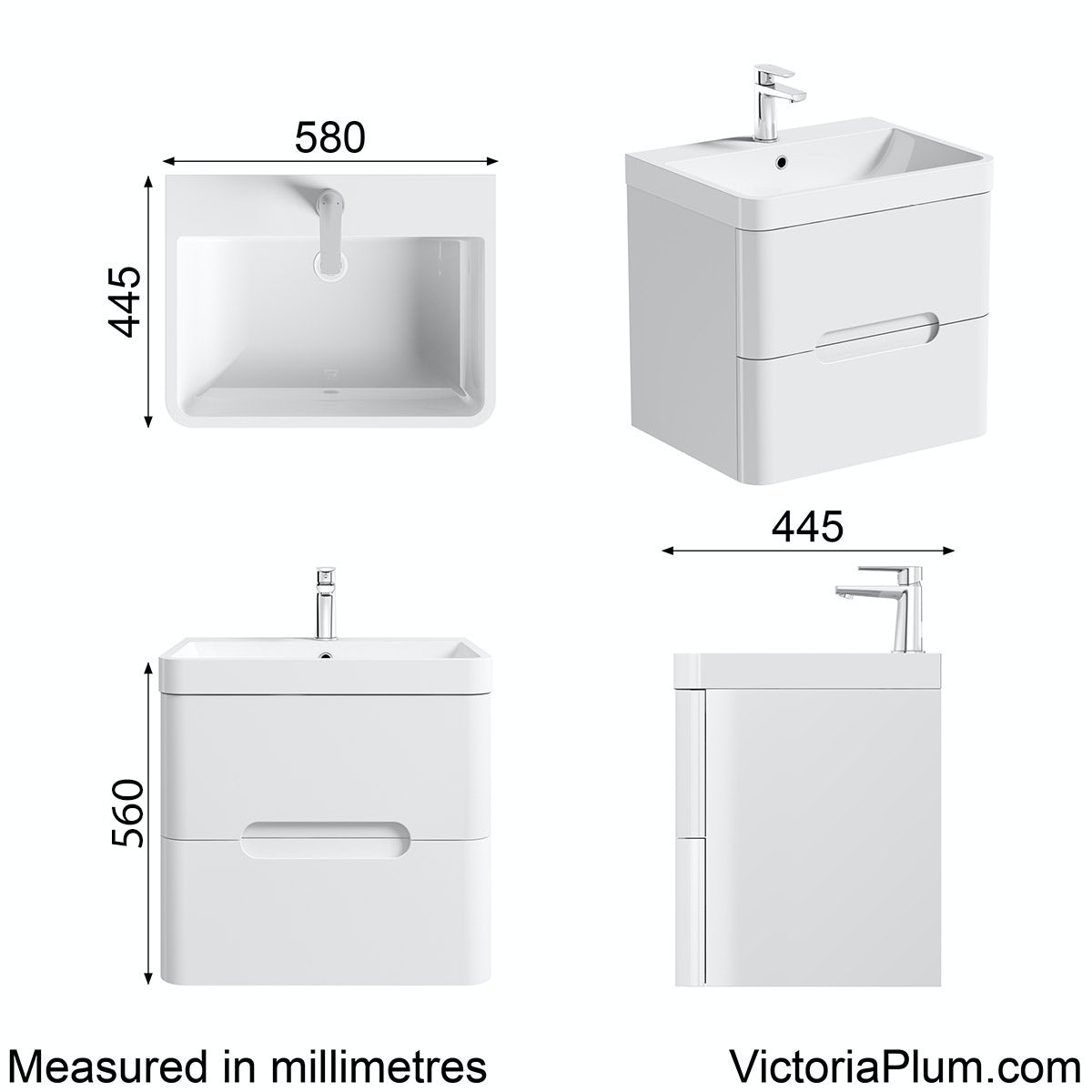 Dimensions for Mode Ellis white wall hung vanity drawer unit and basin 600mm