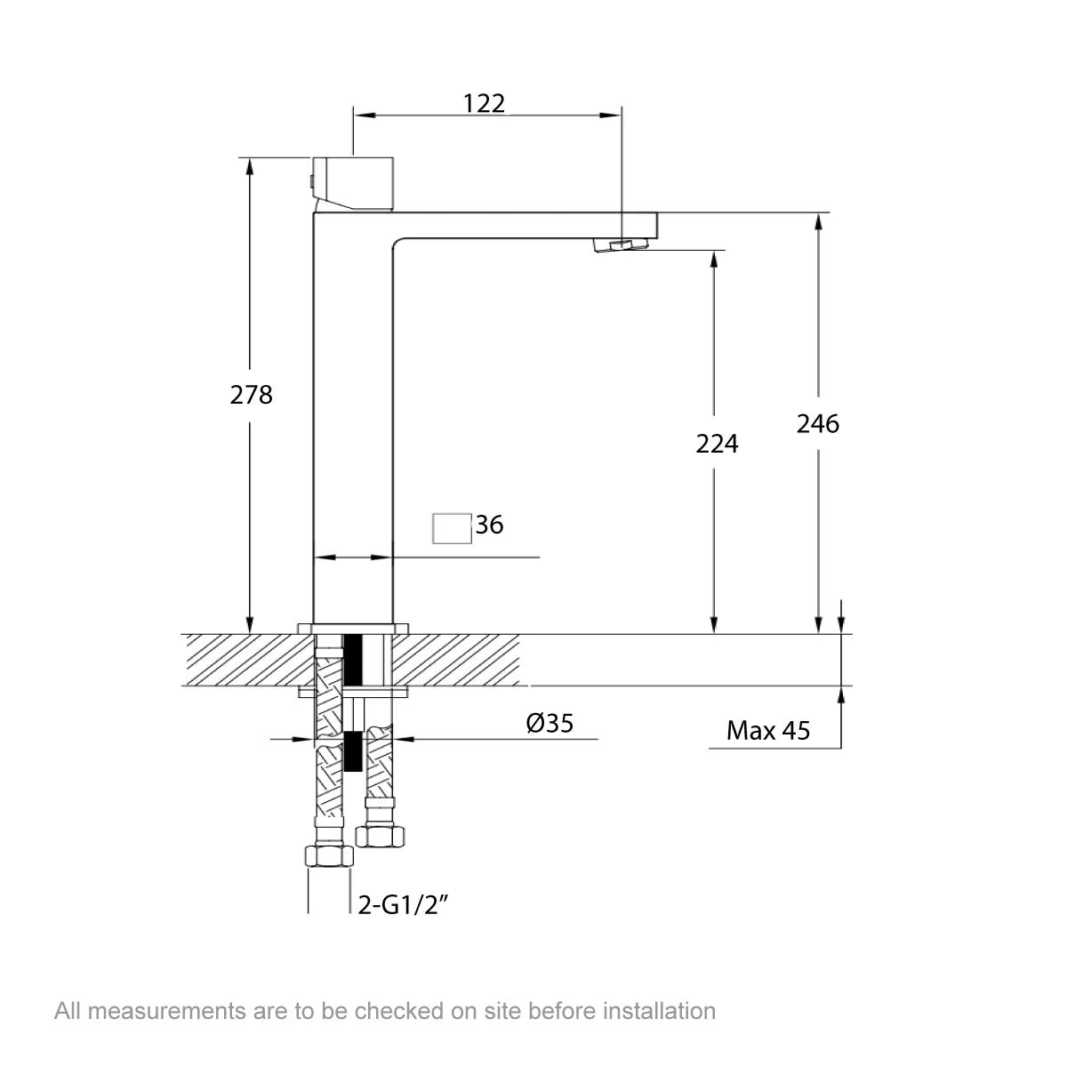 Dimensions for Mode Austin high rise basin mixer tap