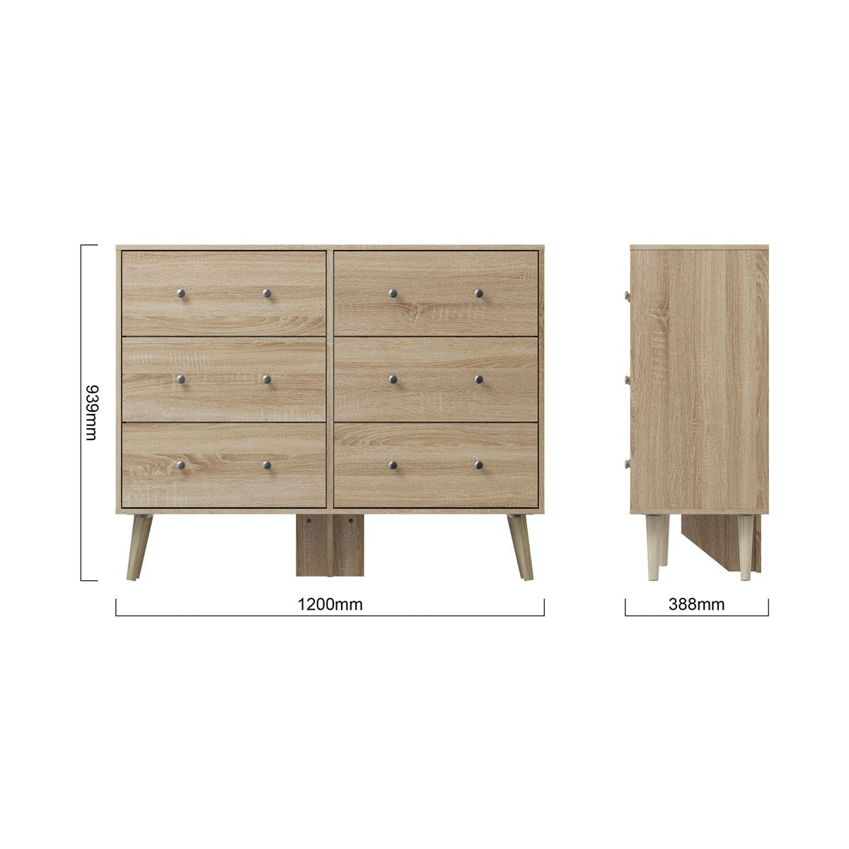 Dimensions for MFI Helsinki Oak 6 drawer chest