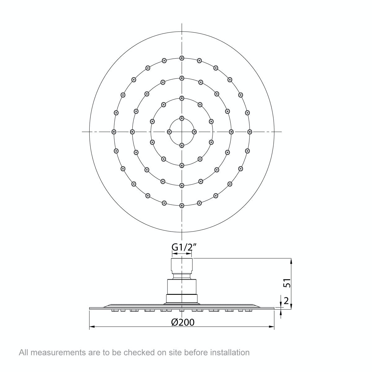 Dimensions for Mode Renzo round slim stainless steel shower head 200mm