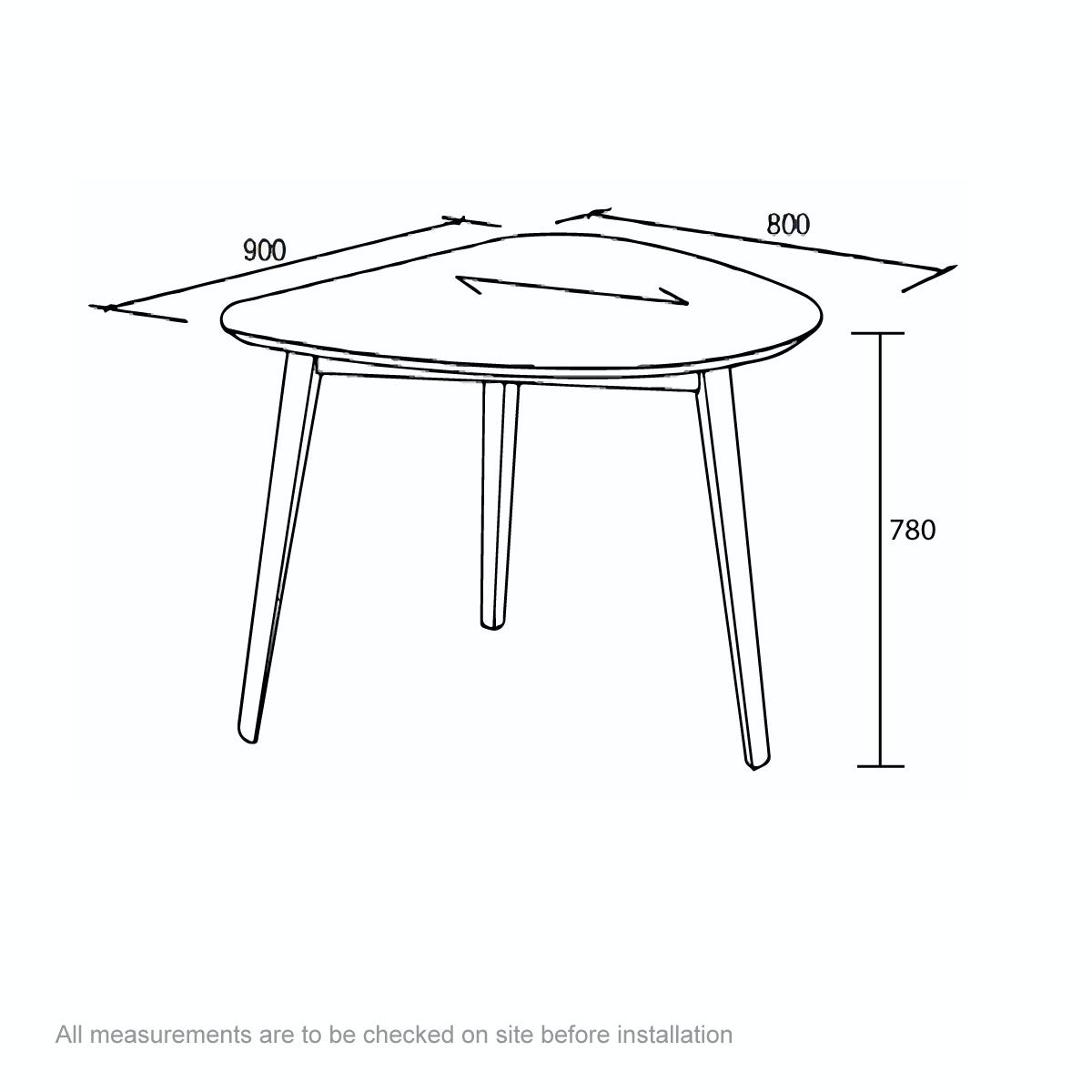Dimensions for Ernest oak apartment table