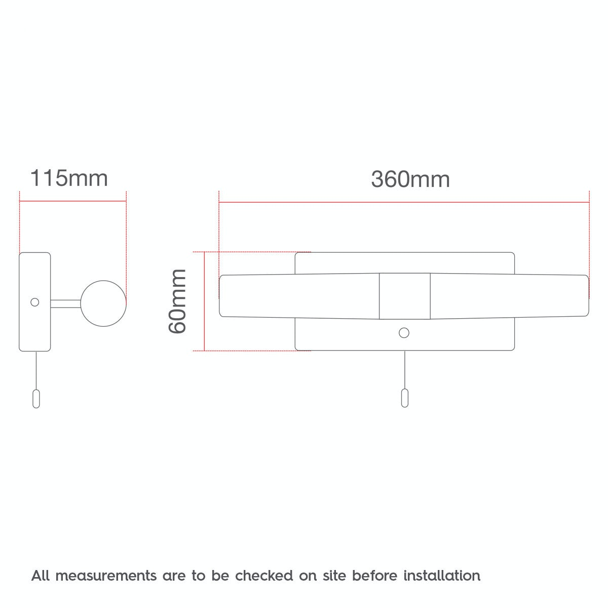 Dimensions for Forum Arinna 2 light over mirror bathroom light