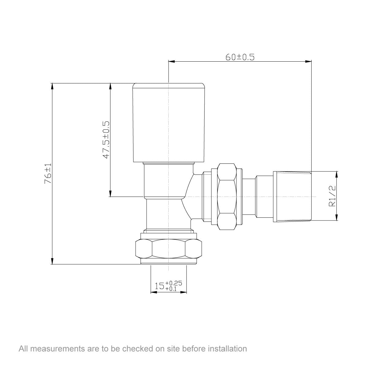 Dimensions for Clarity angled radiator valves