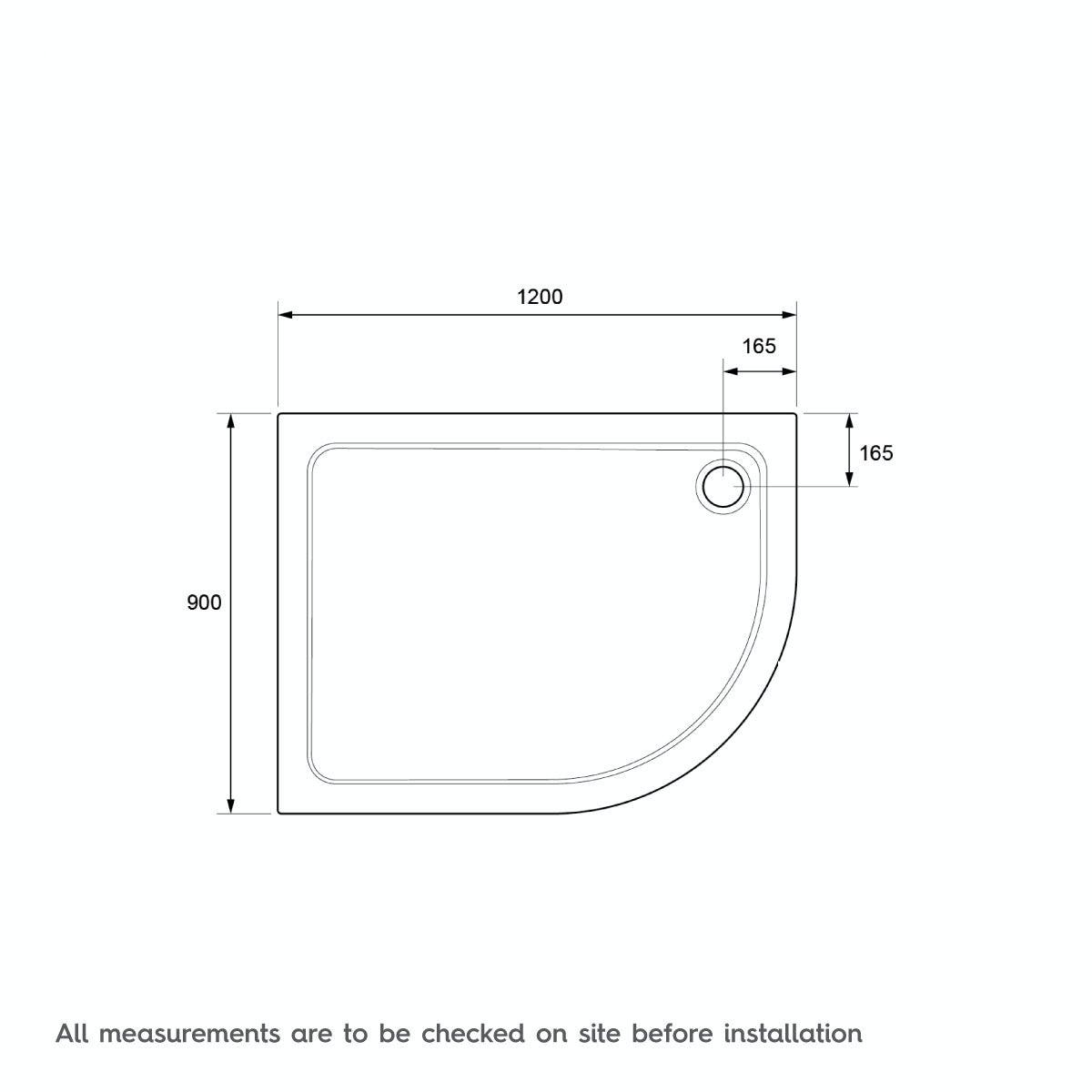 Dimensions for Mira Flight Safe low level anti-slip left handed quadrant shower tray 1200 x 900