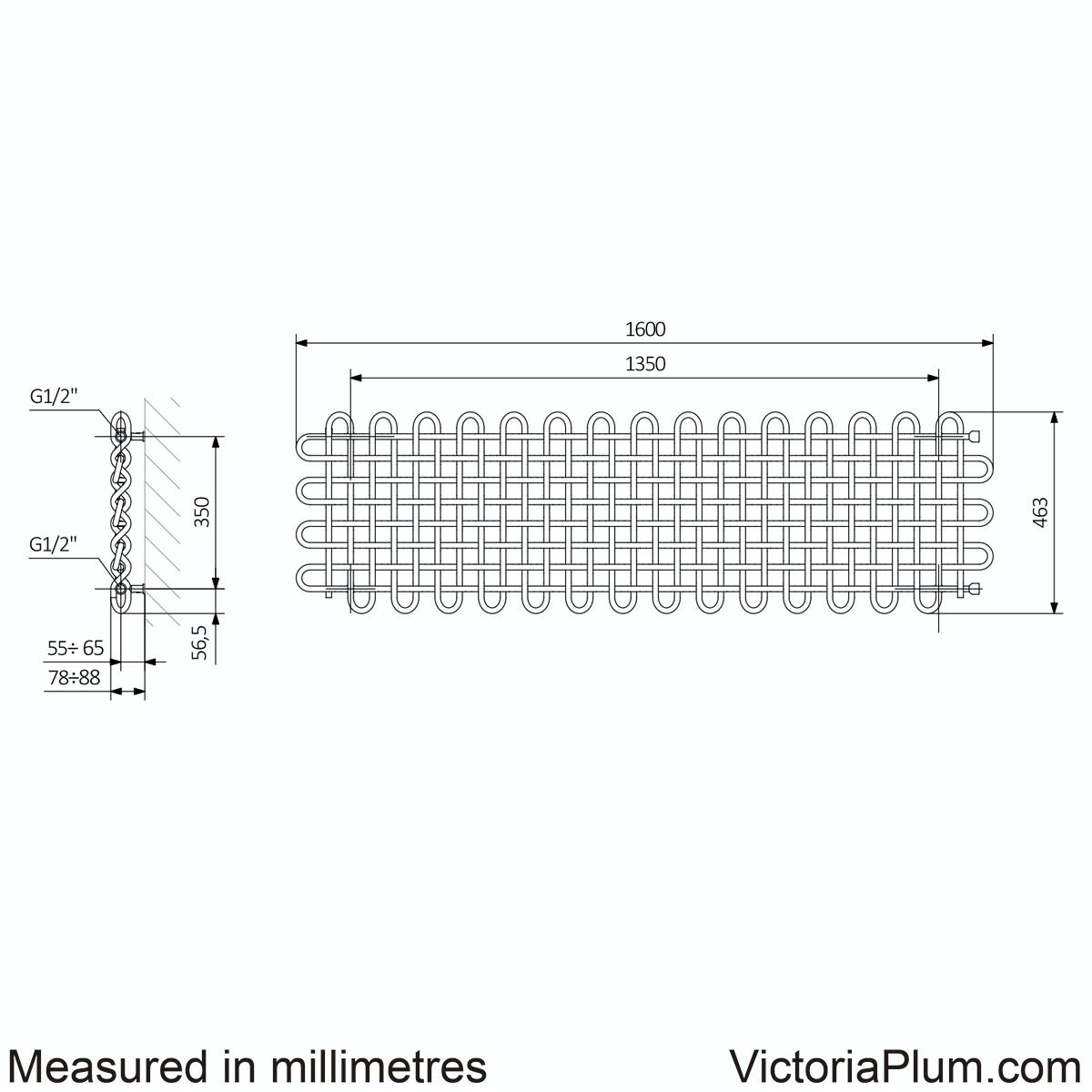 Dimensions for Terma PLC copper horizontal radiator 463 x 1600