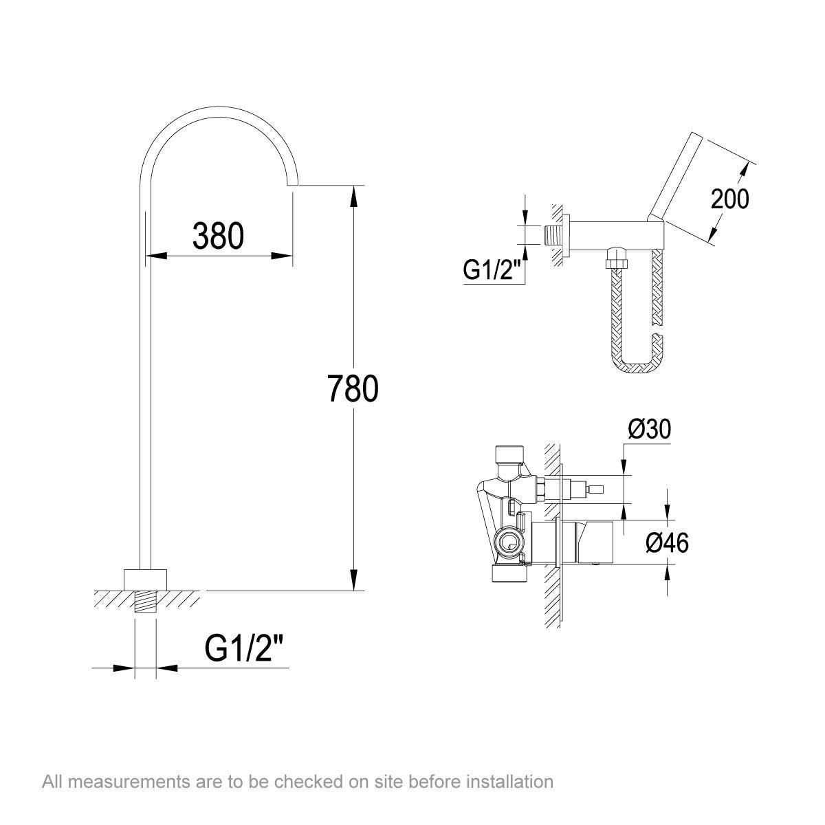 Dimensions for Belle de Louvain Avanzi bath tap