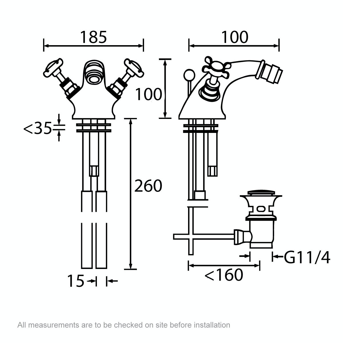 Dimensions for Bristan 1901 gold bidet mixer tap with waste