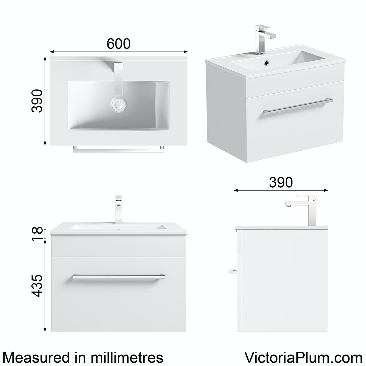 Dimensions for Orchard Derwent white wall hung vanity drawer unit and basin 600mm