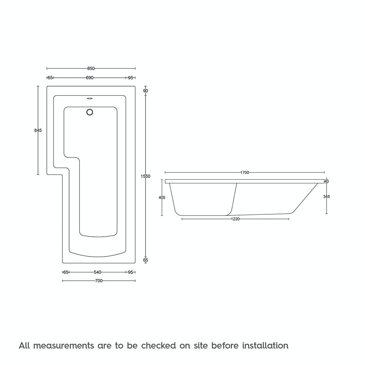 Dimensions for L shaped left handed 6 jet whirlpool shower bath with front panel and screen
