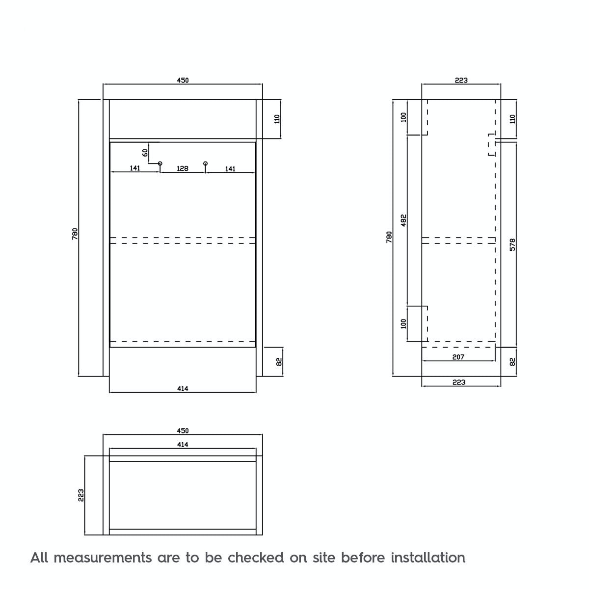 Dimensions for Clarity white cloakroom unit with basin 450mm