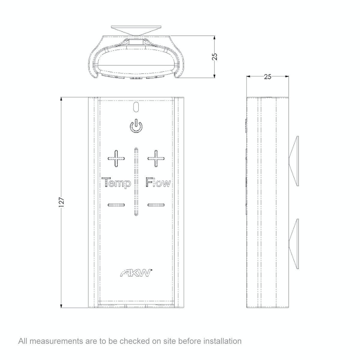 Dimensions for AKW iCare electric shower remote control