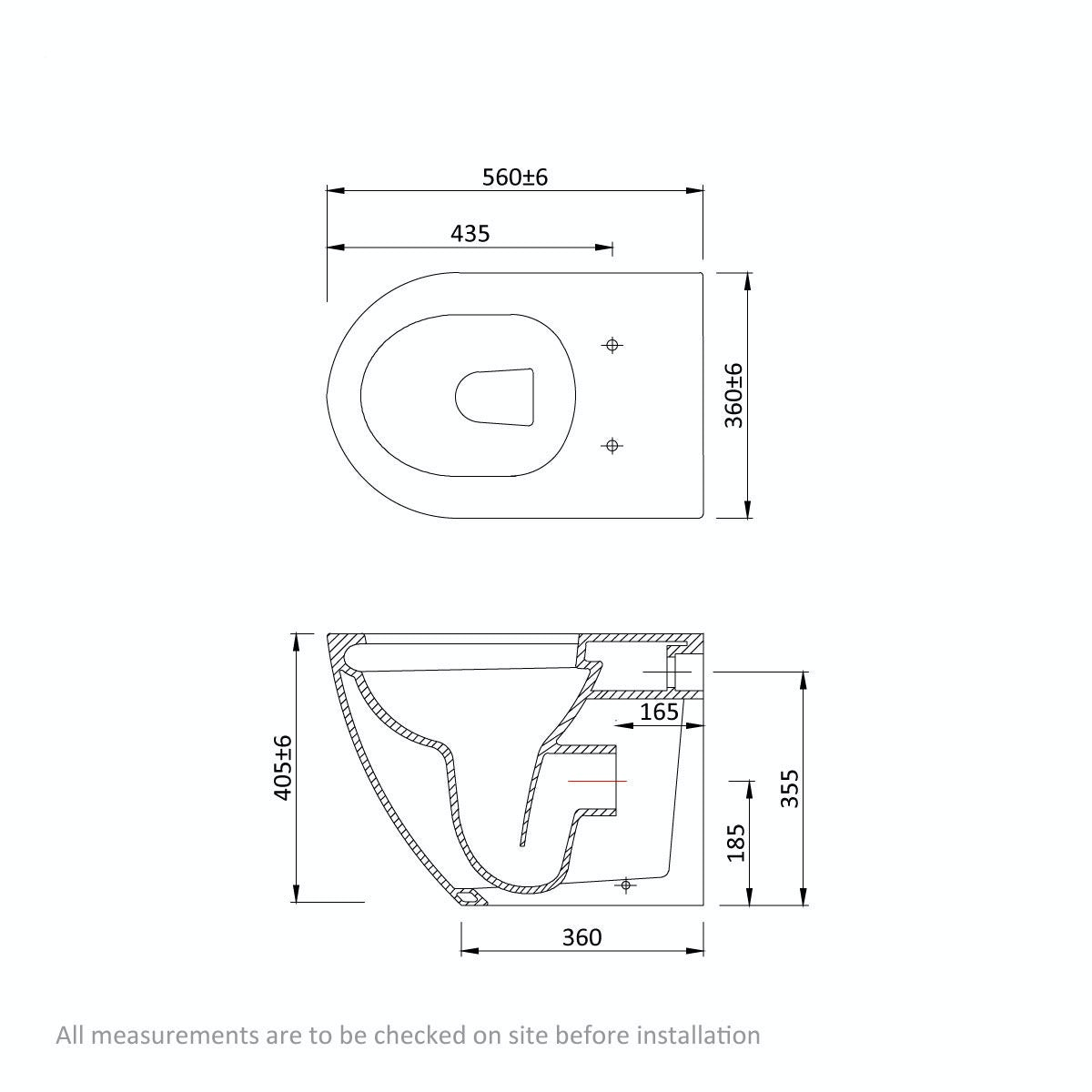 Dimensions for Mode Harrison rimless back to wall toilet with soft close seat