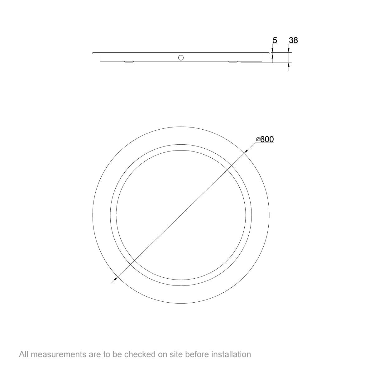 Dimensions for Mode Shine Round LED mirror