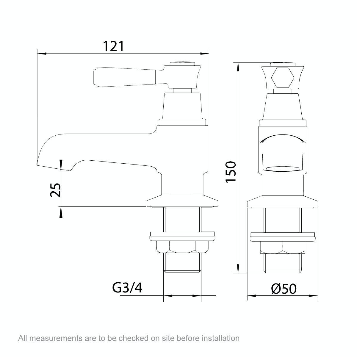 Dimensions for The Bath Co. Beaumont lever bath pillar taps