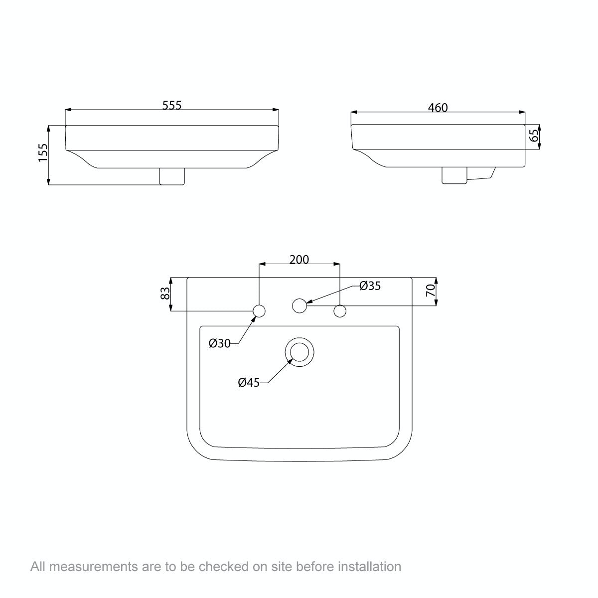 Dimensions for Mode Carter 3 tap hole full pedestal basin 550mm