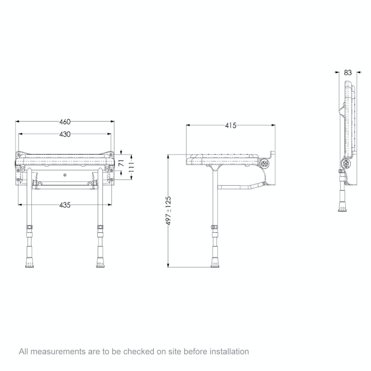 Dimensions for AKW 2000 series standard folding shower seat with grey pad