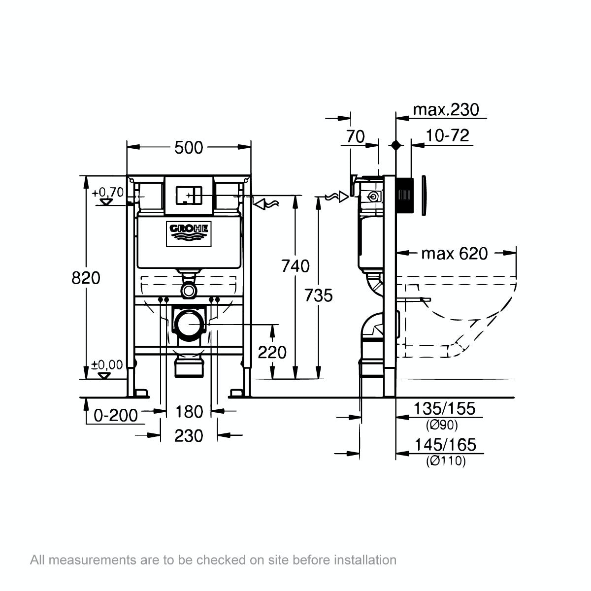 Dimensions for Grohe Rapid SL Set 3 in 1 wall mounting frame with square button Skate Cosmopolitan push plate 0.82m