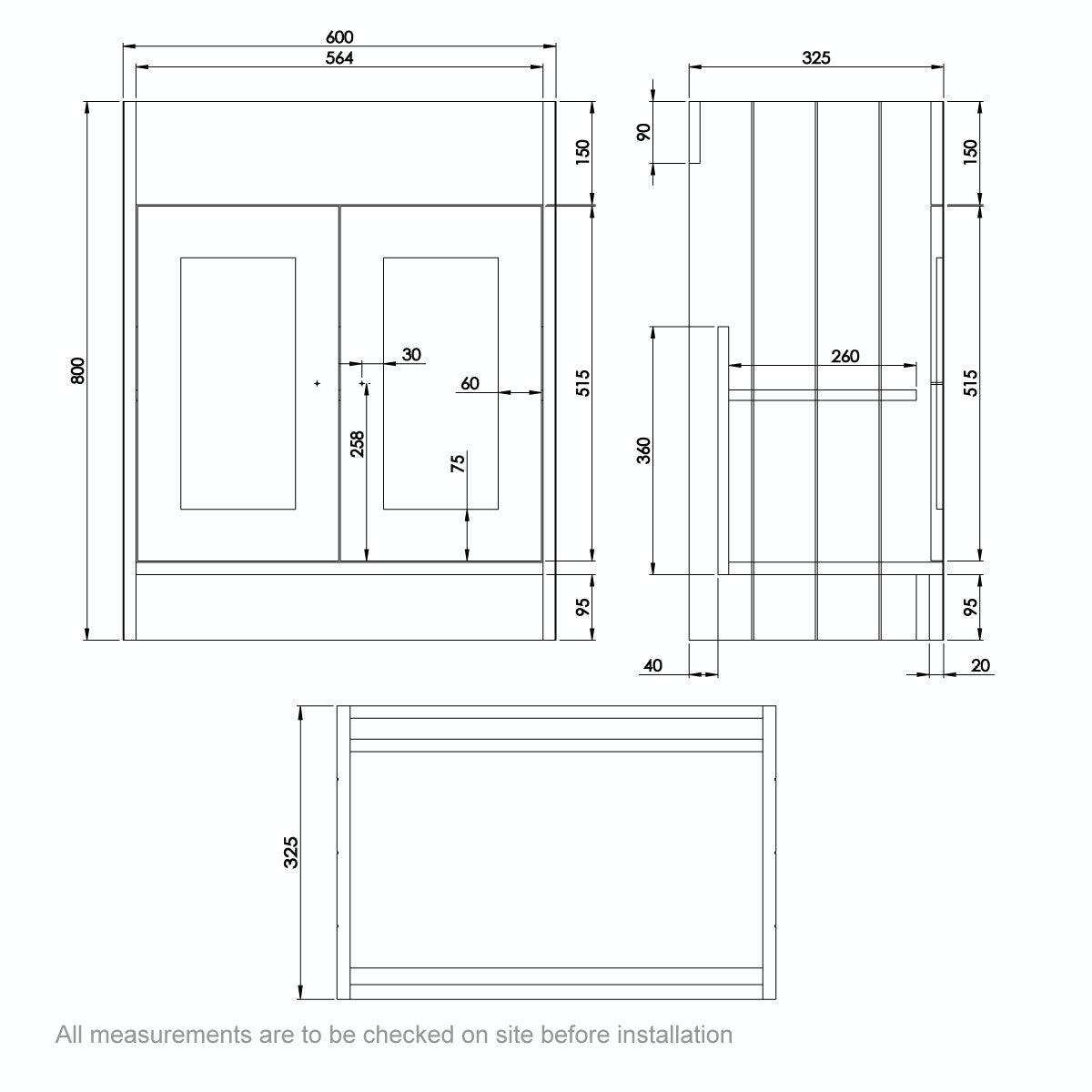Dimensions for The Bath Co. Dulwich stone grey semi recessed vanity with basin 600mm