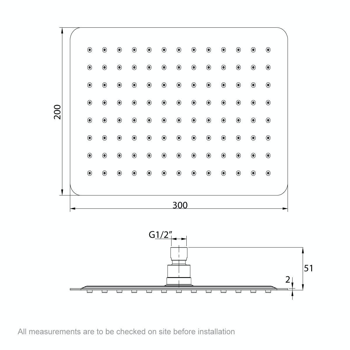 Dimensions for Mode Renzo rectangular slim stainless steel shower head 300mm
