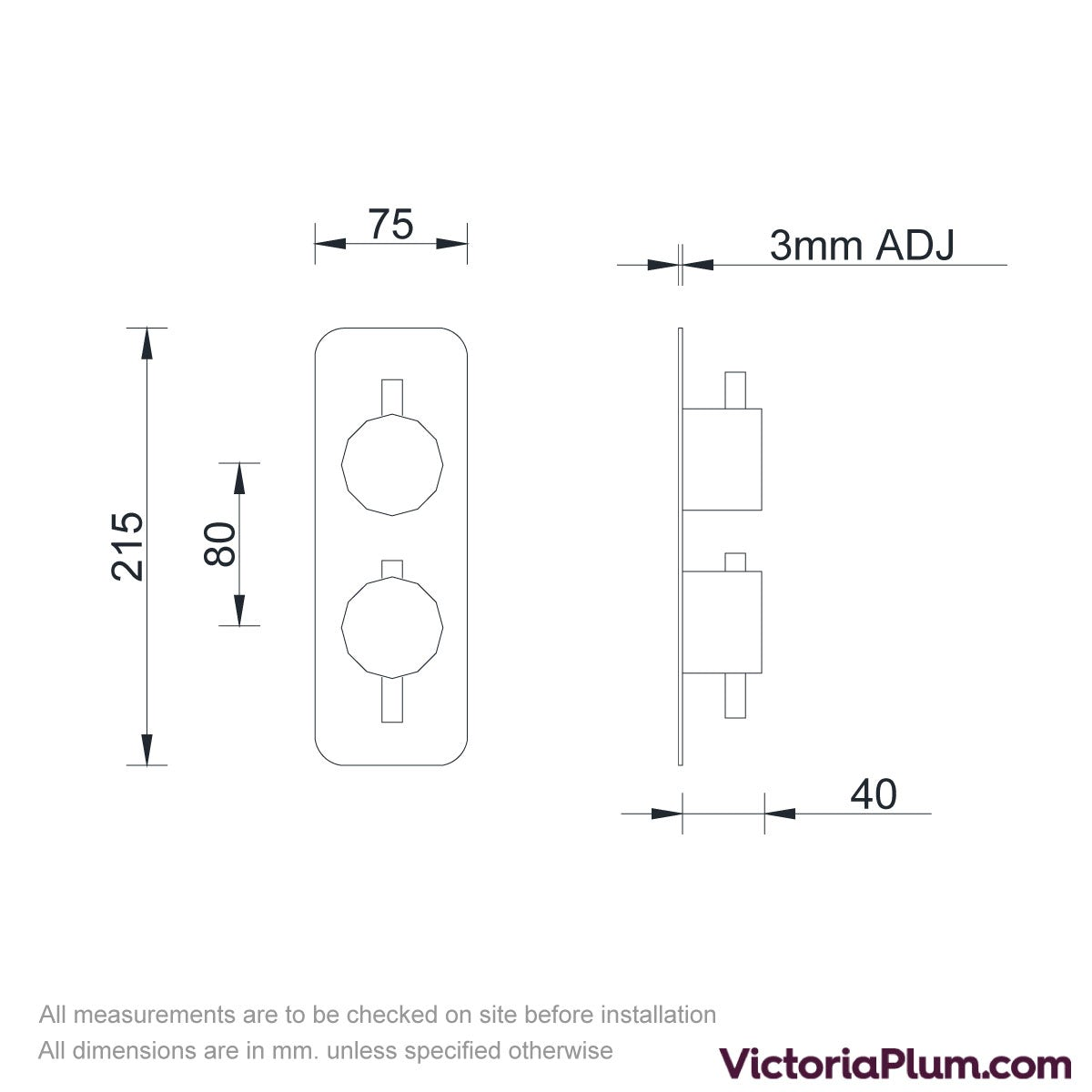 Dimensions for Mode Heath twin thermostatic shower valve