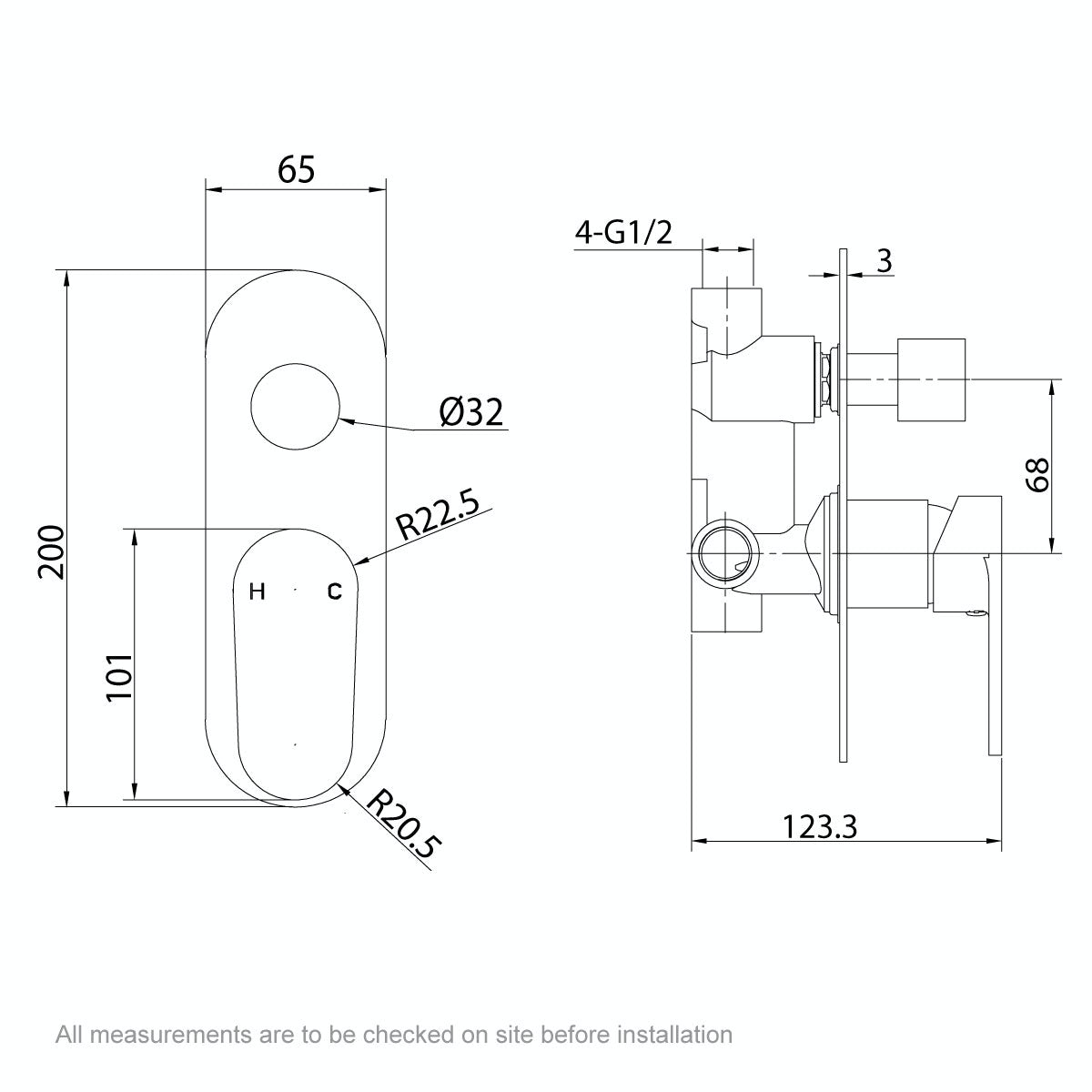Dimensions for Orchard Round manual shower valve with diverter
