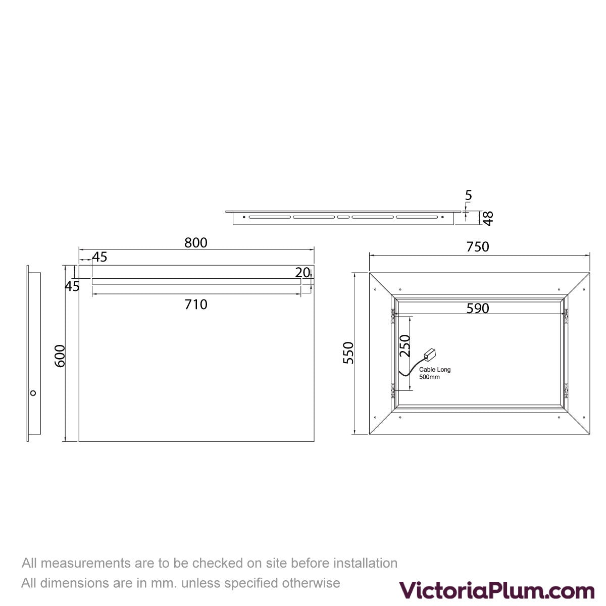 Dimensions for Mode Rossi LED Mirror with under light 800mm