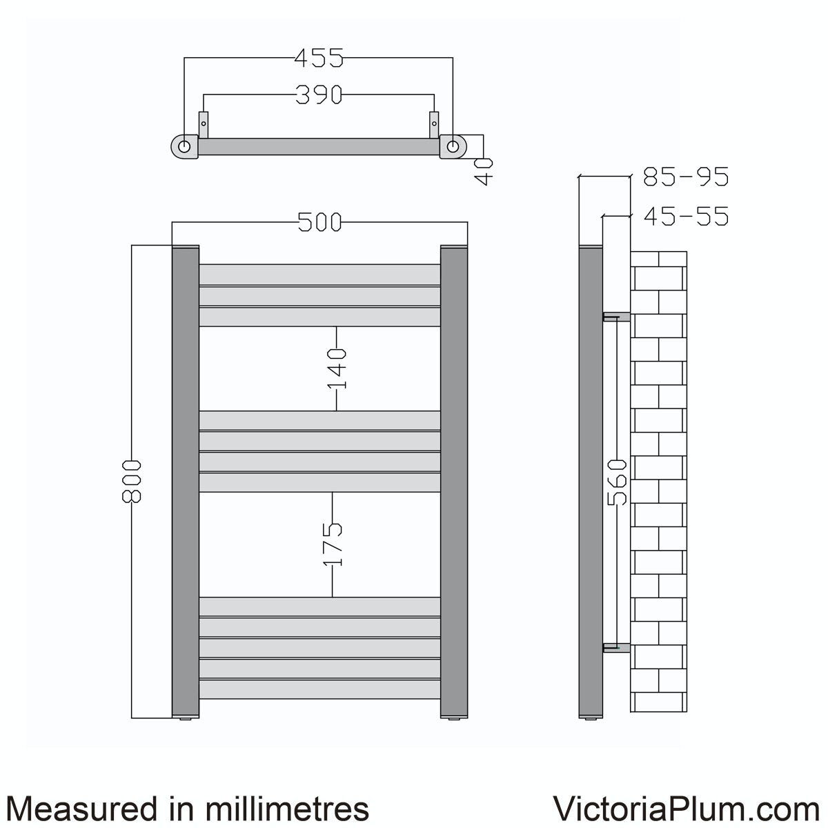 Dimensions for Mode Carter heated towel rail 800 x 500