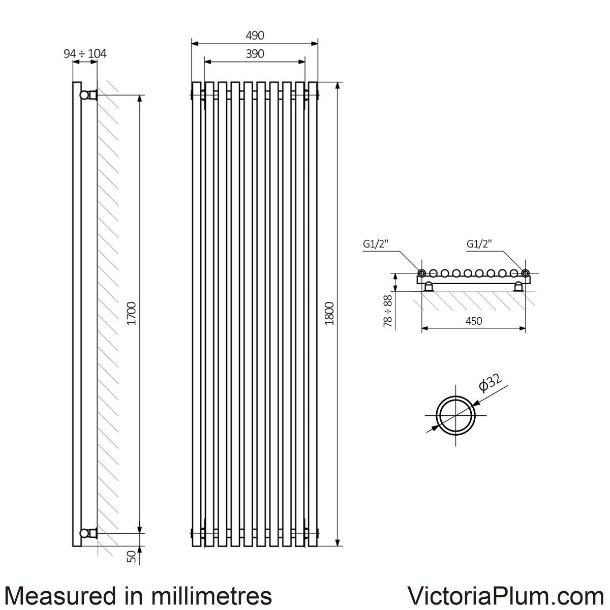 Dimensions for Terma Tune matt nickel single vertical radiator 1800 x 490