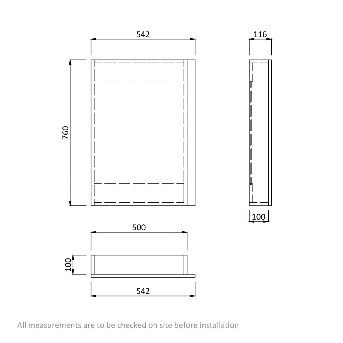 Dimensions for Orchard Wye walnut mirror cabinet