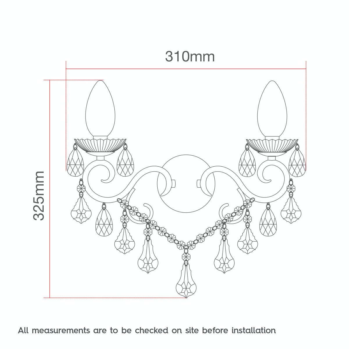 Dimensions for Solen 2 light bathroom wall light