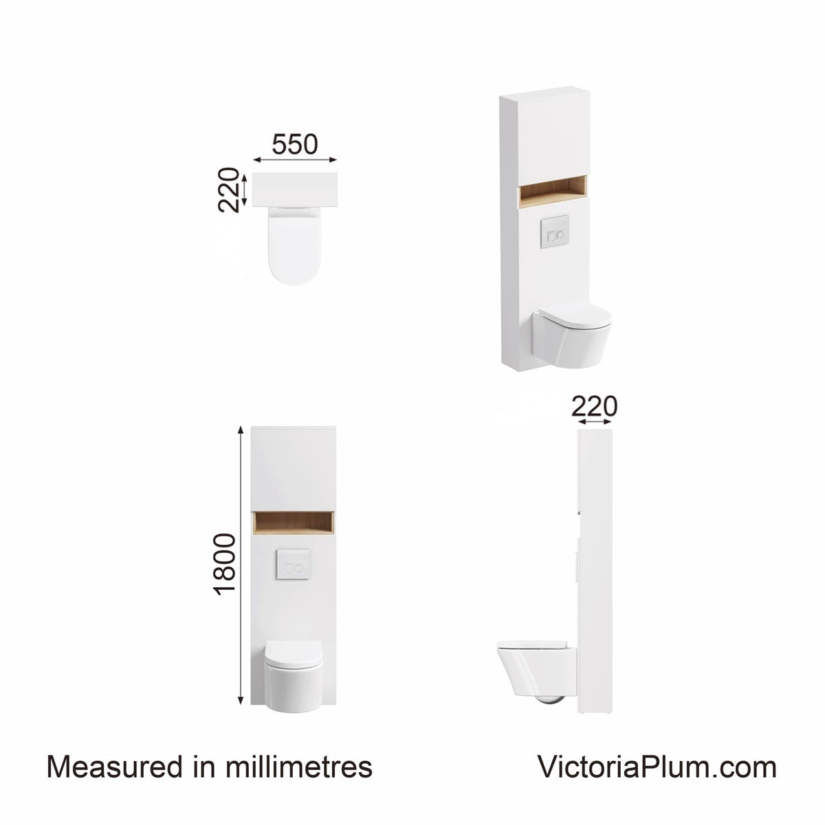 Dimensions for Mode Tate white & oak tall toilet unit