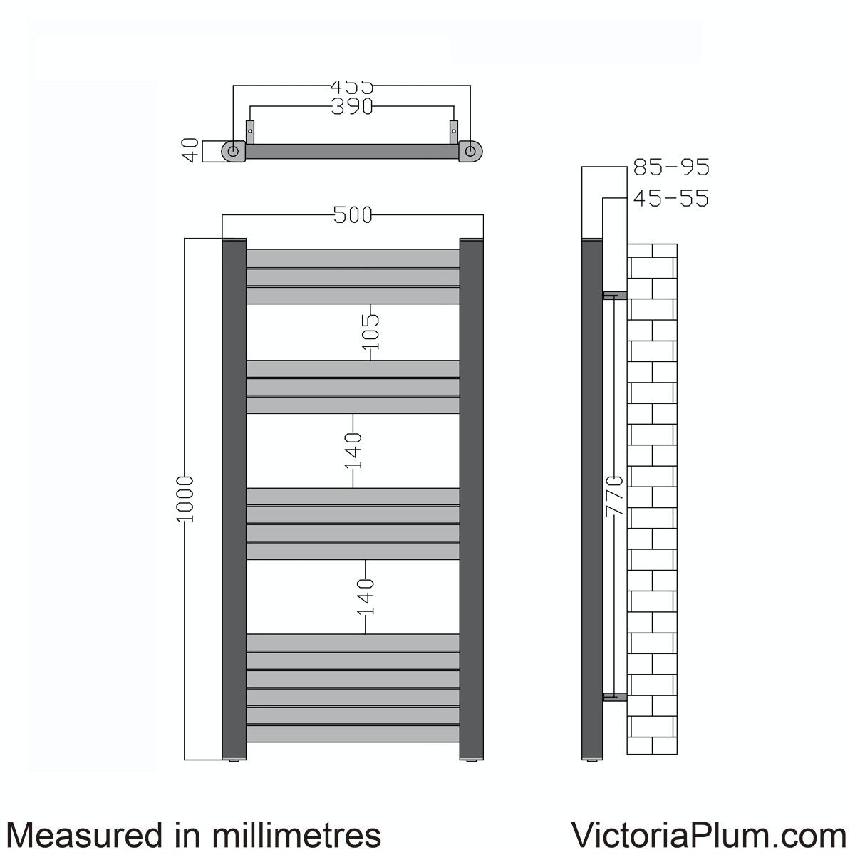 Dimensions for Mode Carter heated towel rail 1000 x 500