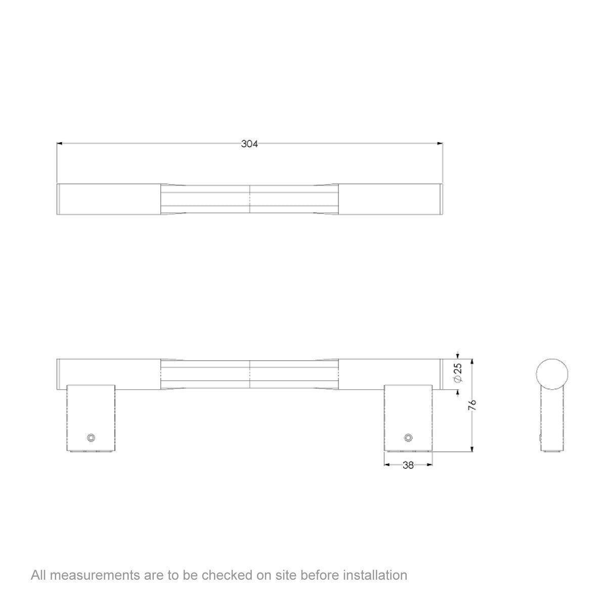 Dimensions for AKW Velena static straight grab rail 250mm
