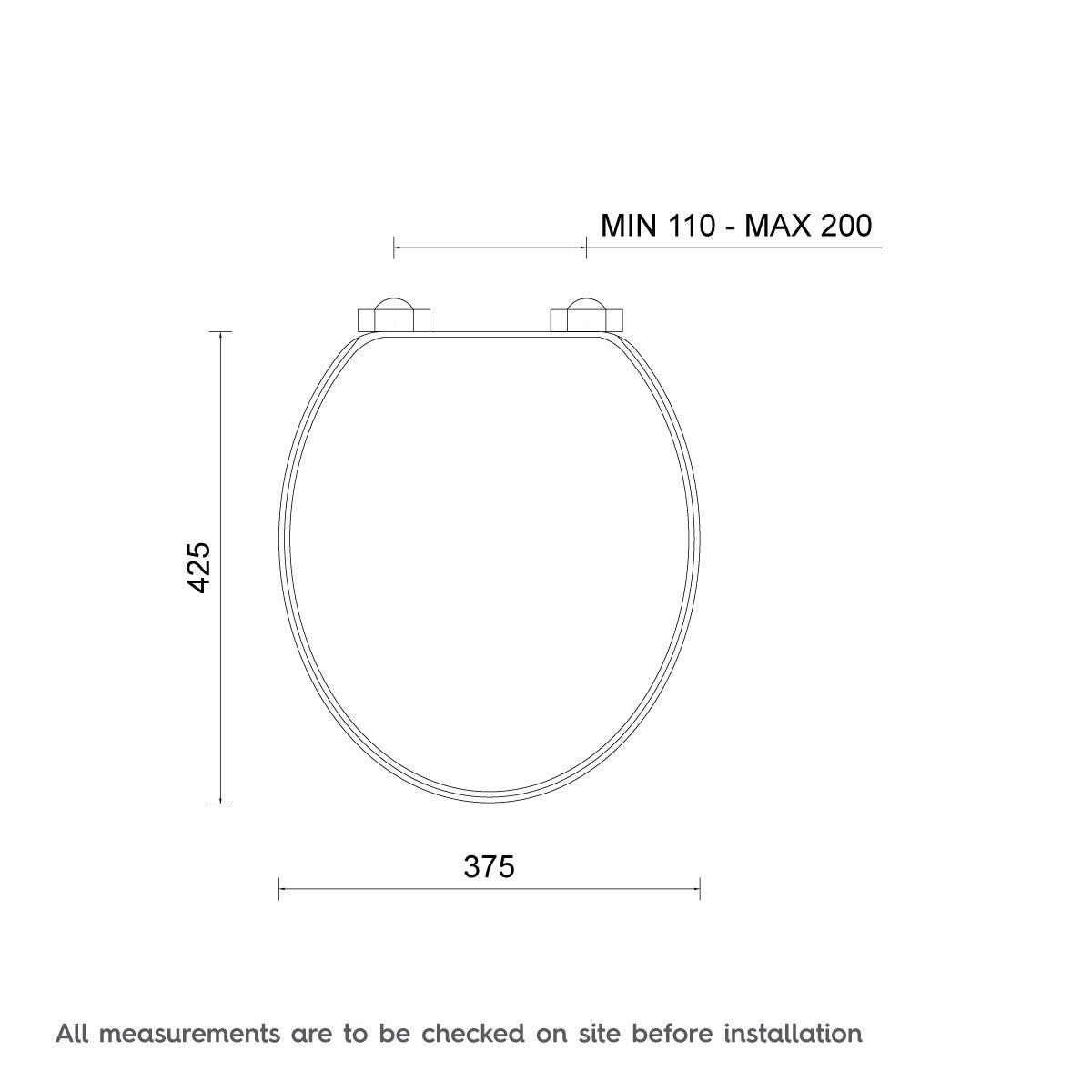 Dimensions for The Bath Co. universal soft close wooden seat matte black