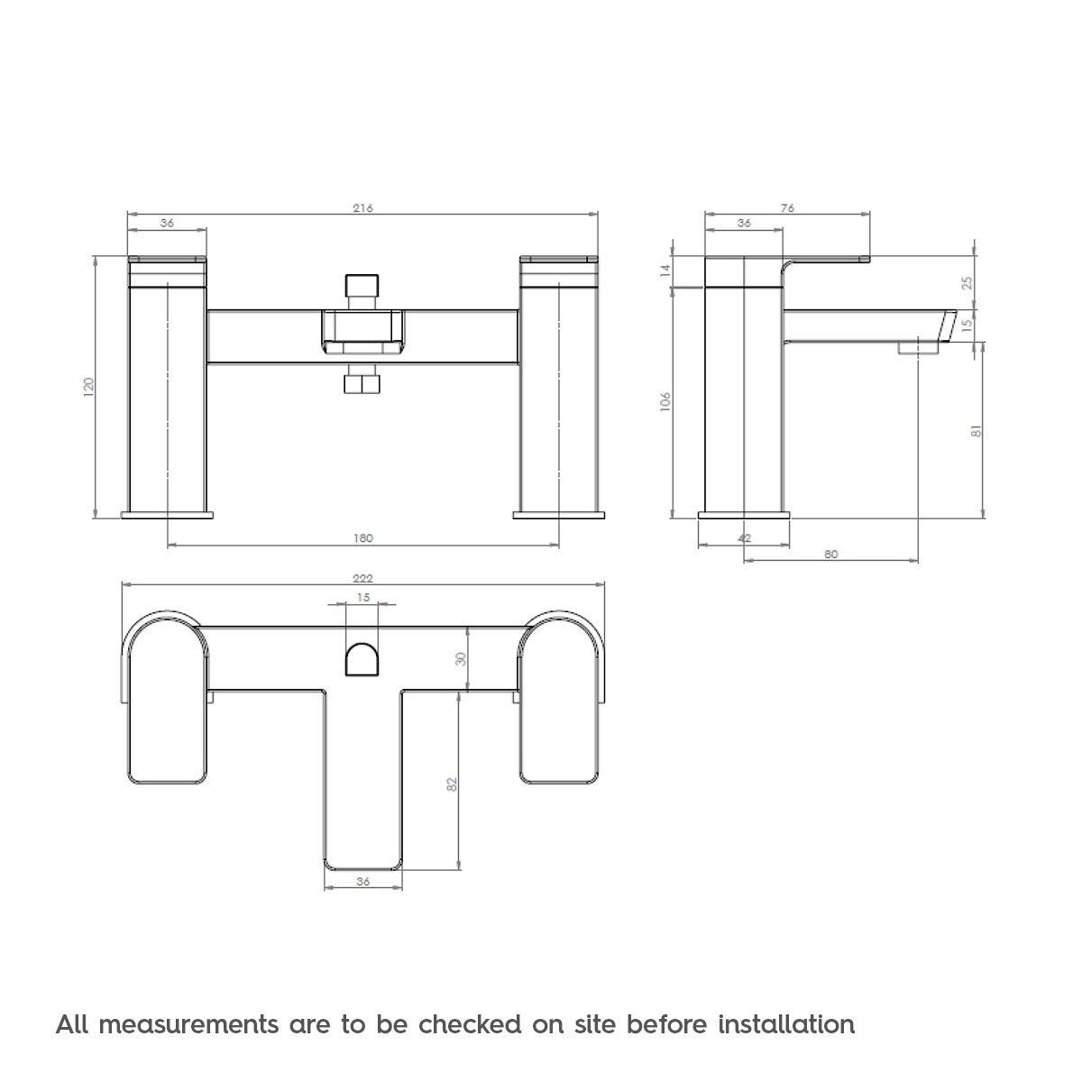 Dimensions for Mode Ellis bath shower mixer tap