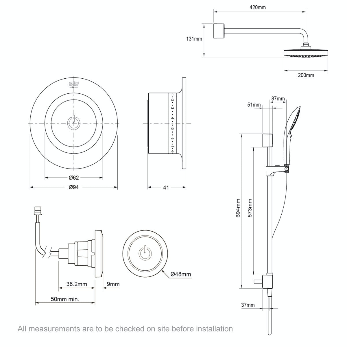 Dimensions for Mira Mode dual rear fed digital shower pumped