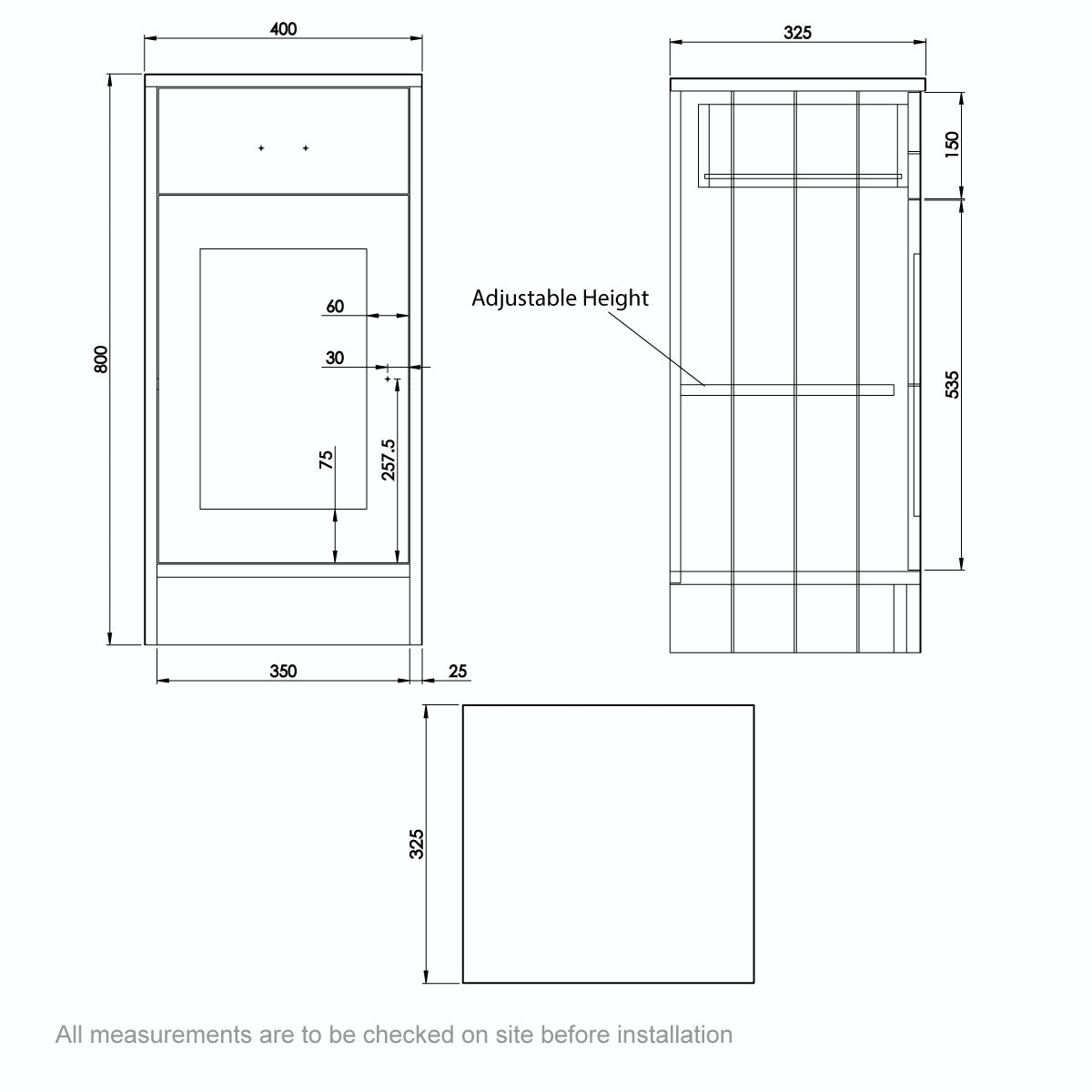 Dimensions for The Bath Co. Dulwich ivory storage unit