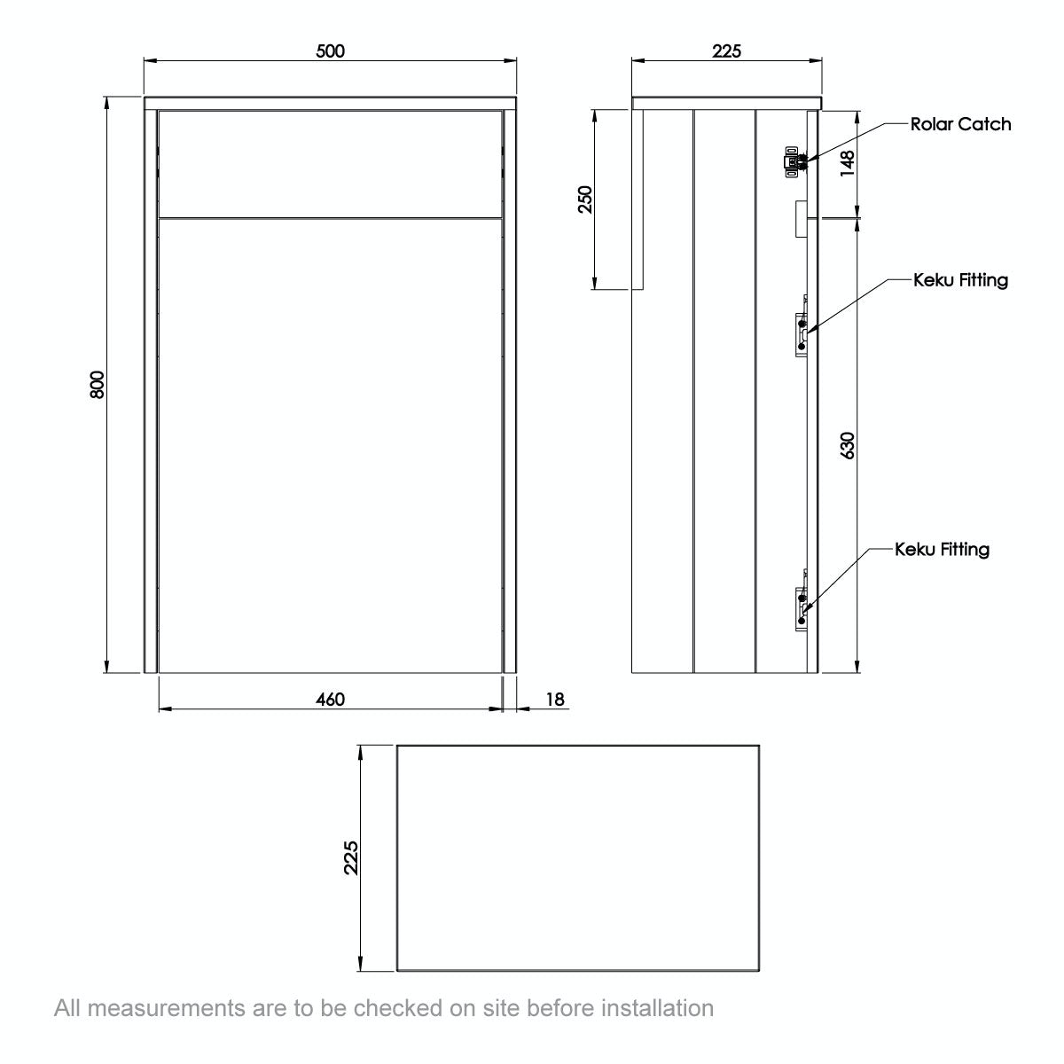 Dimensions for The Bath Co. Dulwich stone grey slimline back to wall toilet unit