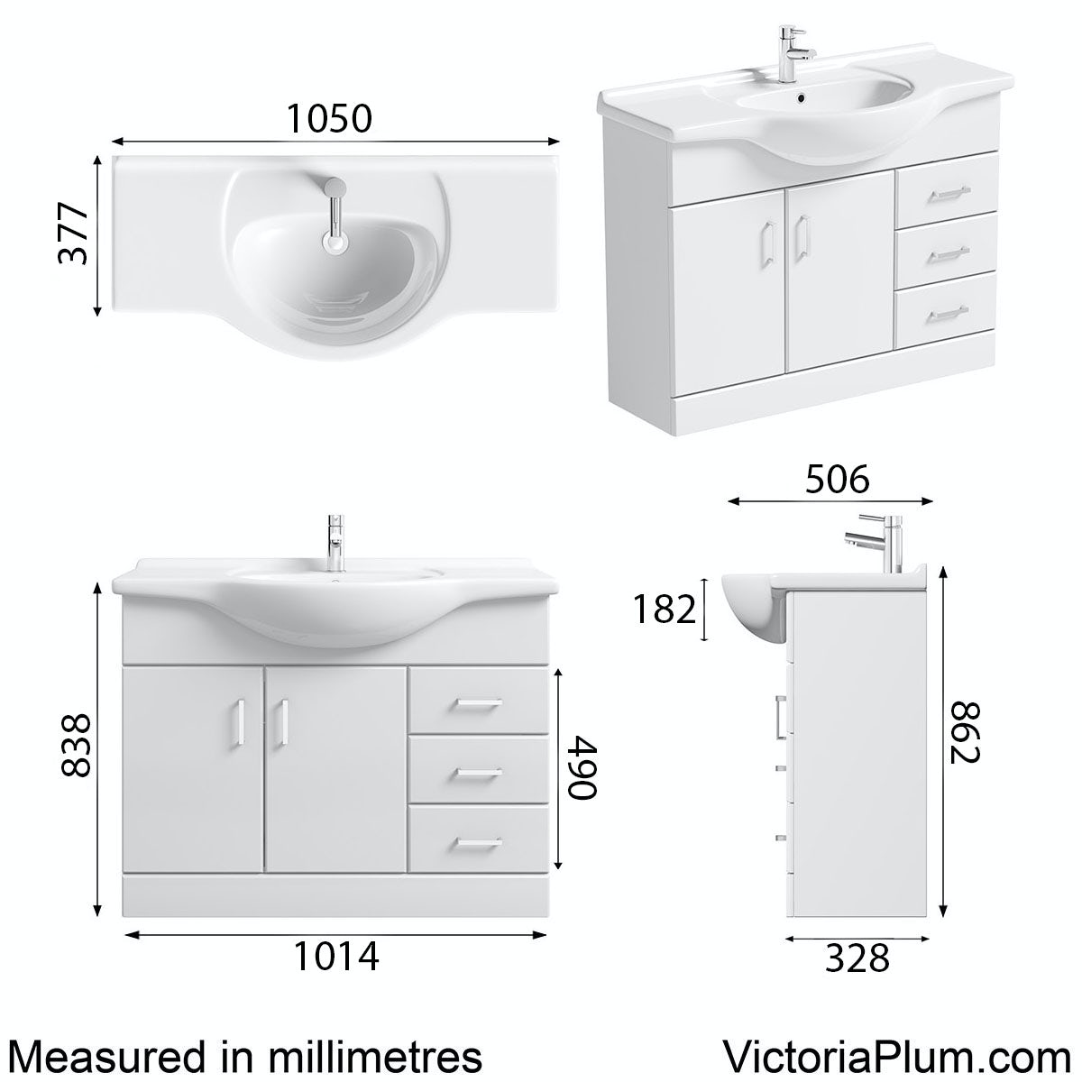 Dimensions for Orchard Eden white vanity unit and basin 1050mm