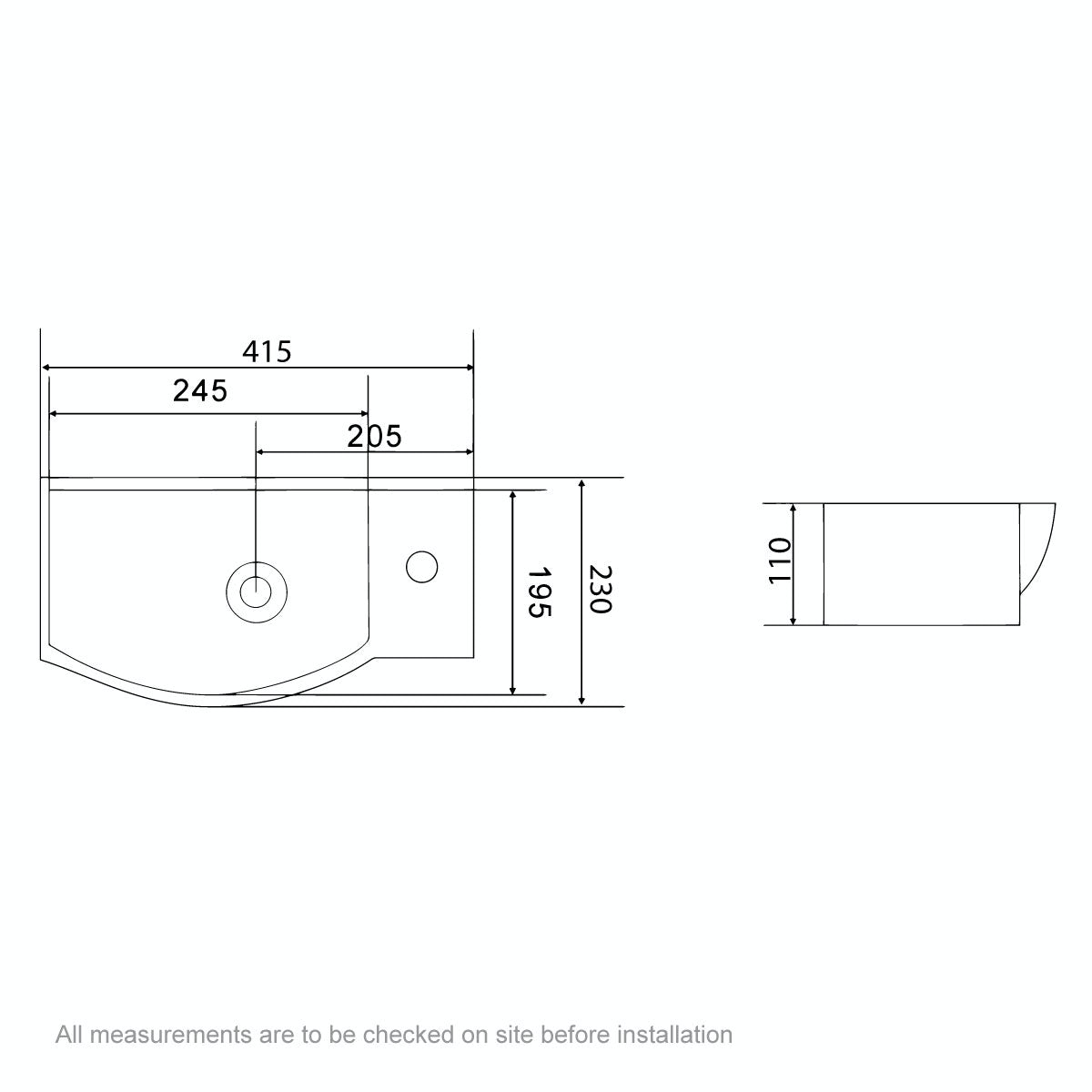 Dimensions for Orchard Constance 1 tap hole basin 405mm