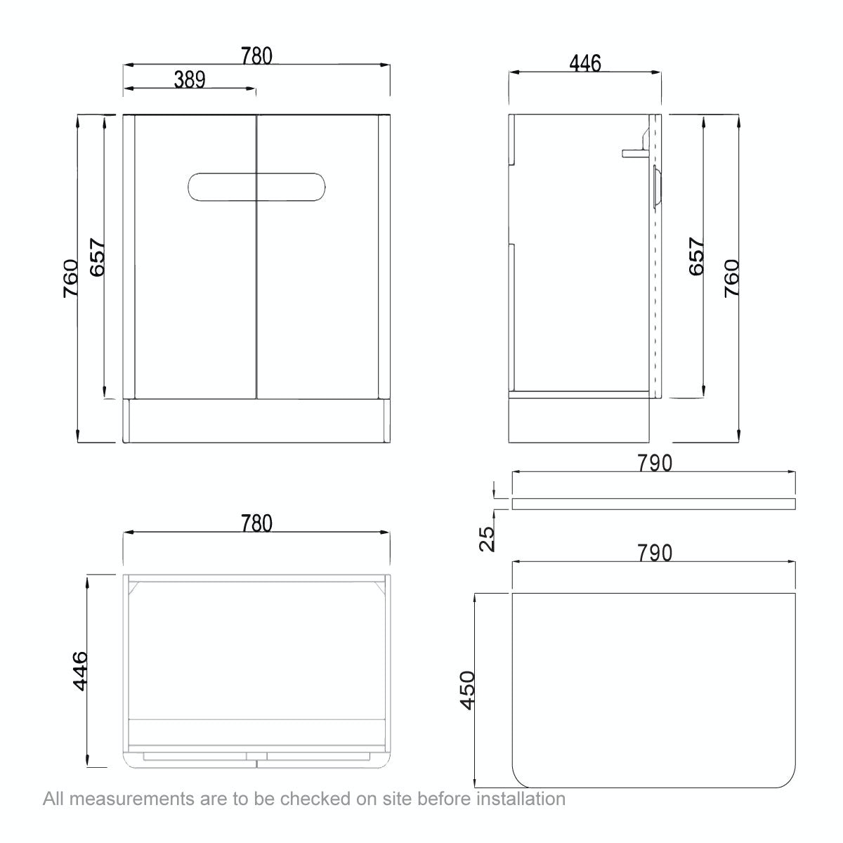 Dimensions for Mode Ellis white vanity door unit and countertop 800mm