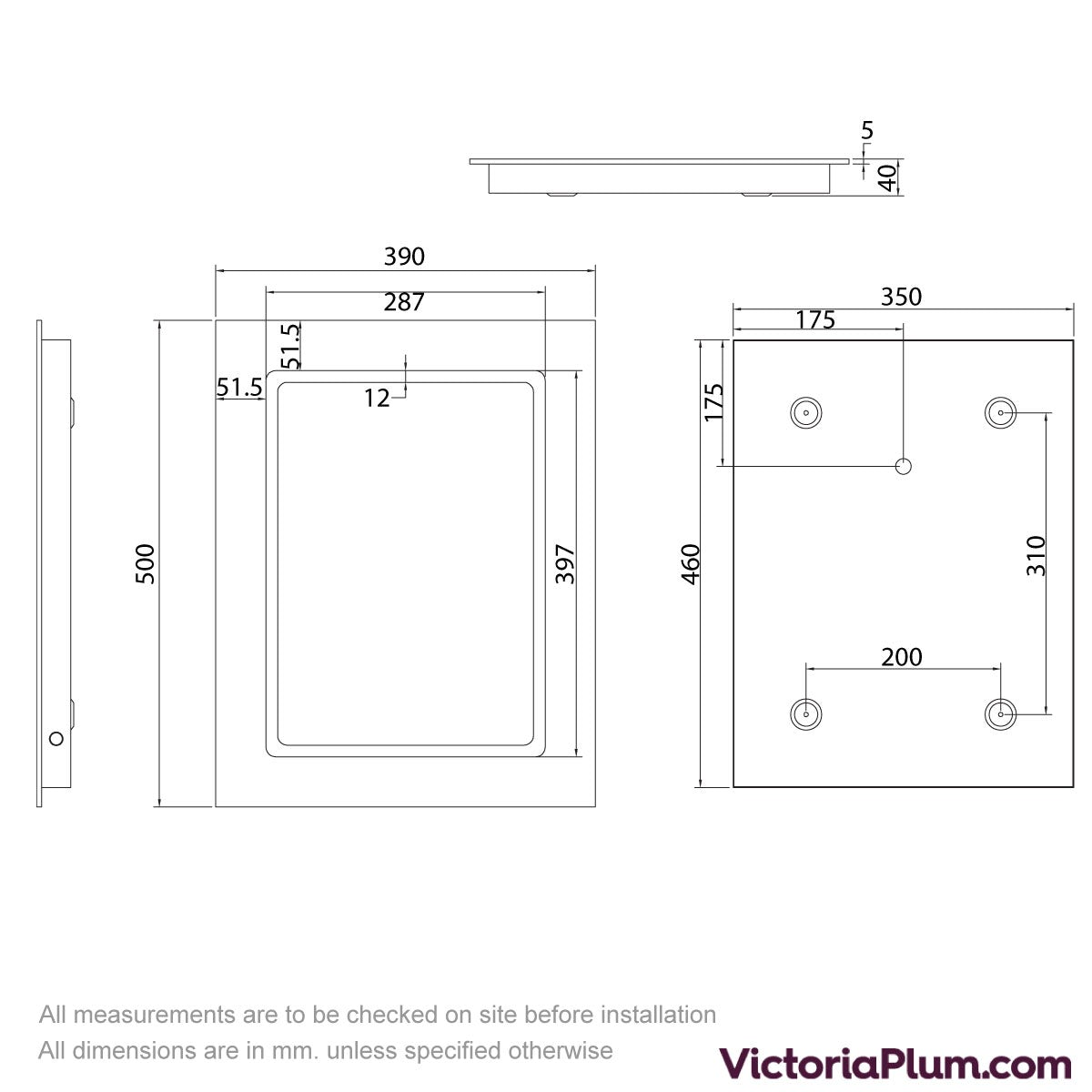 Dimensions for Mode Grayson LED Mirror defogger & sensor 390x500