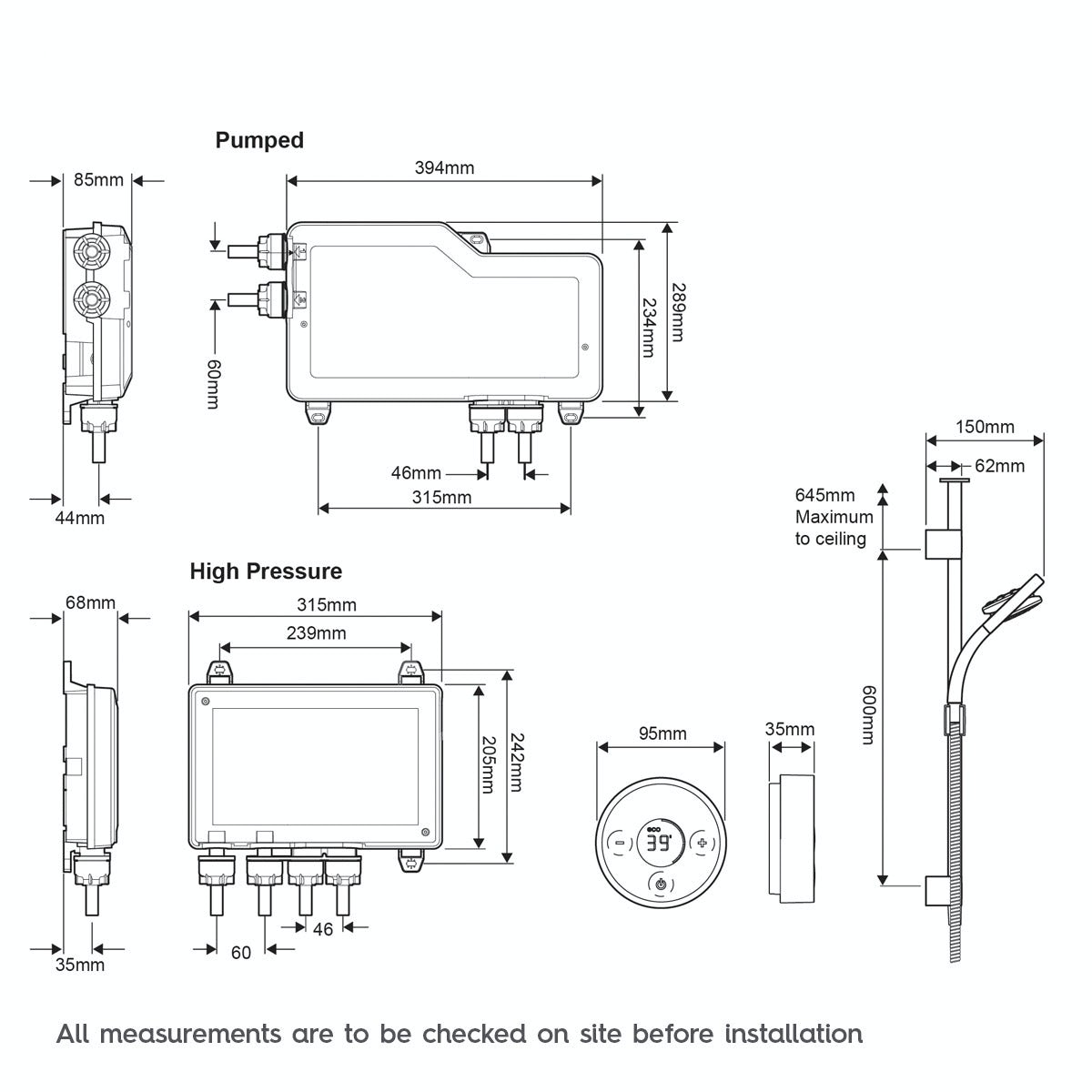Dimensions for Mira Platinum ceiling fed digital shower standard