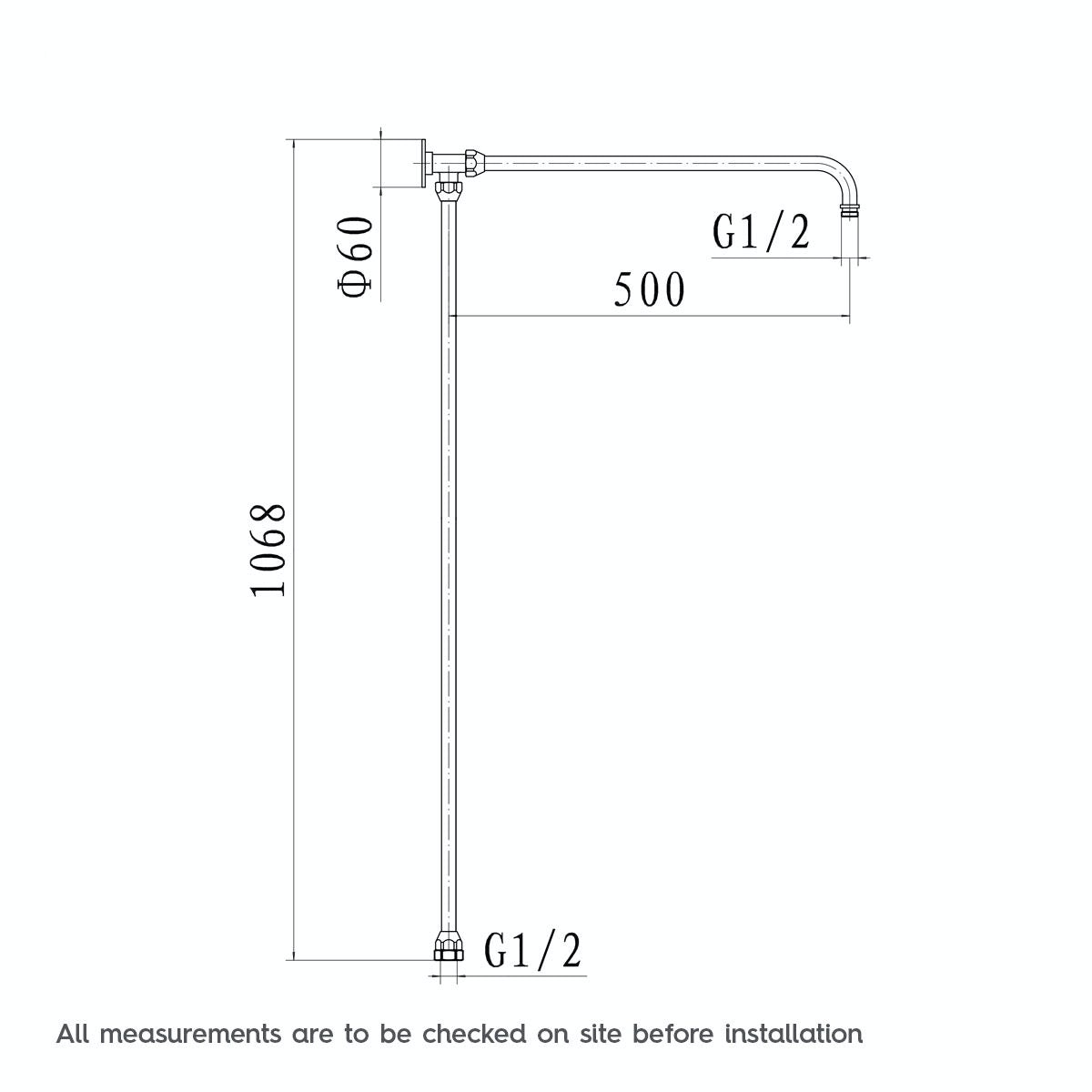 Dimensions for The Bath Co. Winchester exposed riser rail shower system