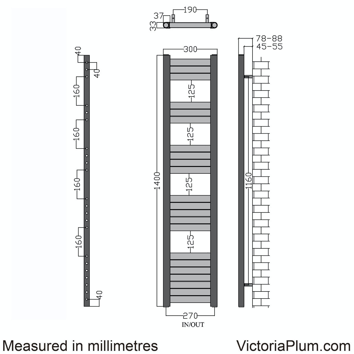 Dimensions for Champagne heated towel rail 1400 x 300