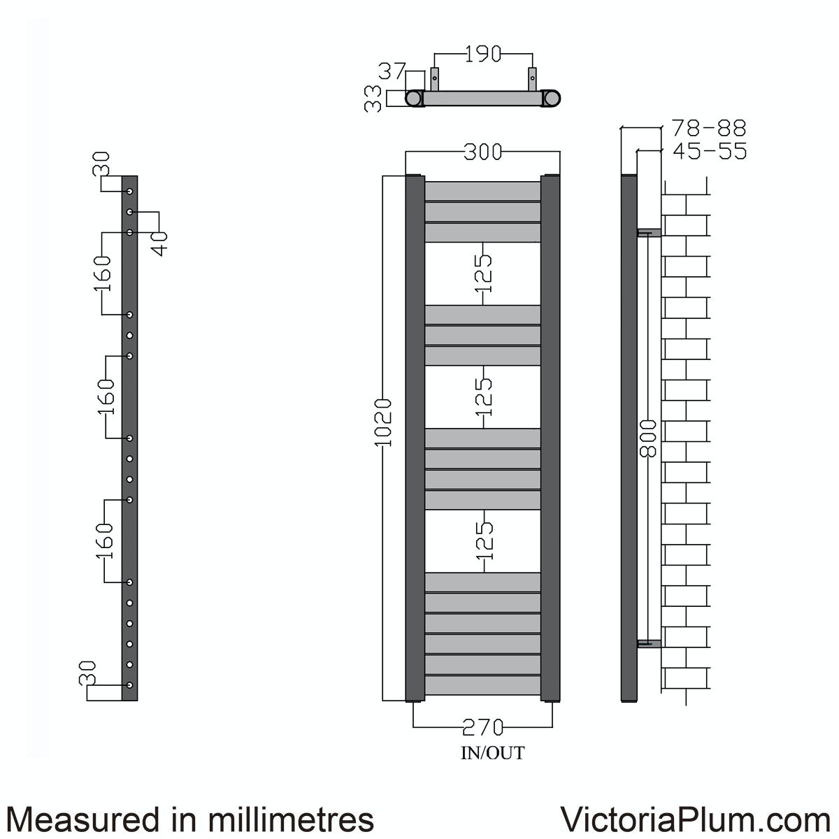 Dimensions for Mode Carter heated towel rail 1000 x 300