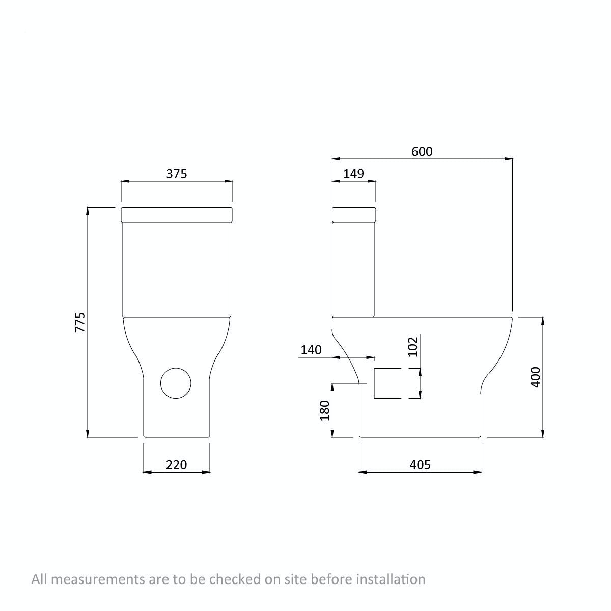 Dimensions for Compact Square close coupled toilet with slimline soft close toilet seat