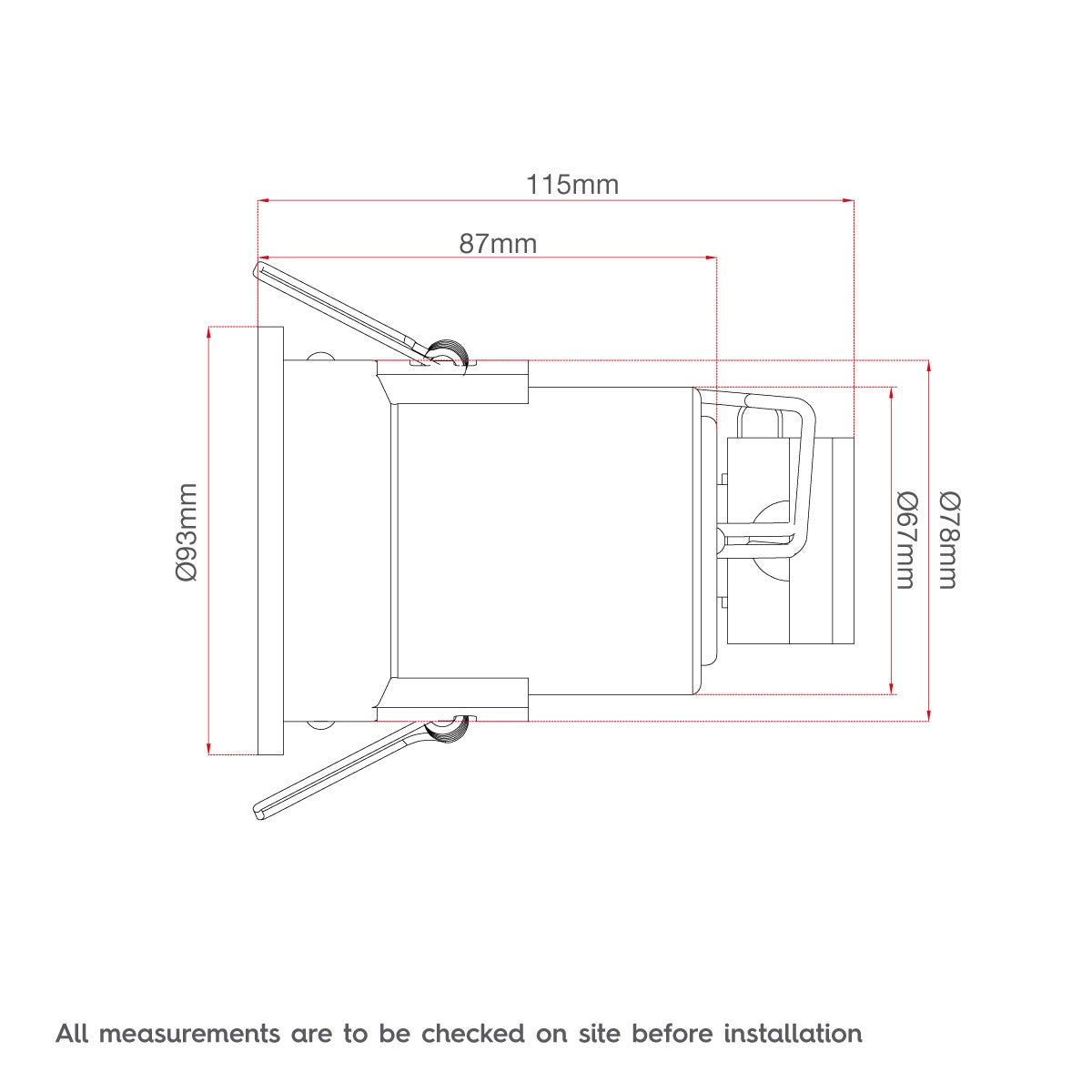 Dimensions for Forum adjustable fire rated bathroom downlight in white