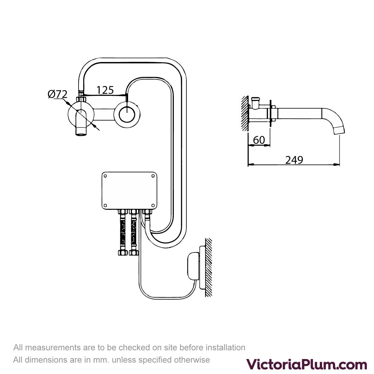Dimensions for Mode Touch digital thermostatic wall mounted basin mixer tap