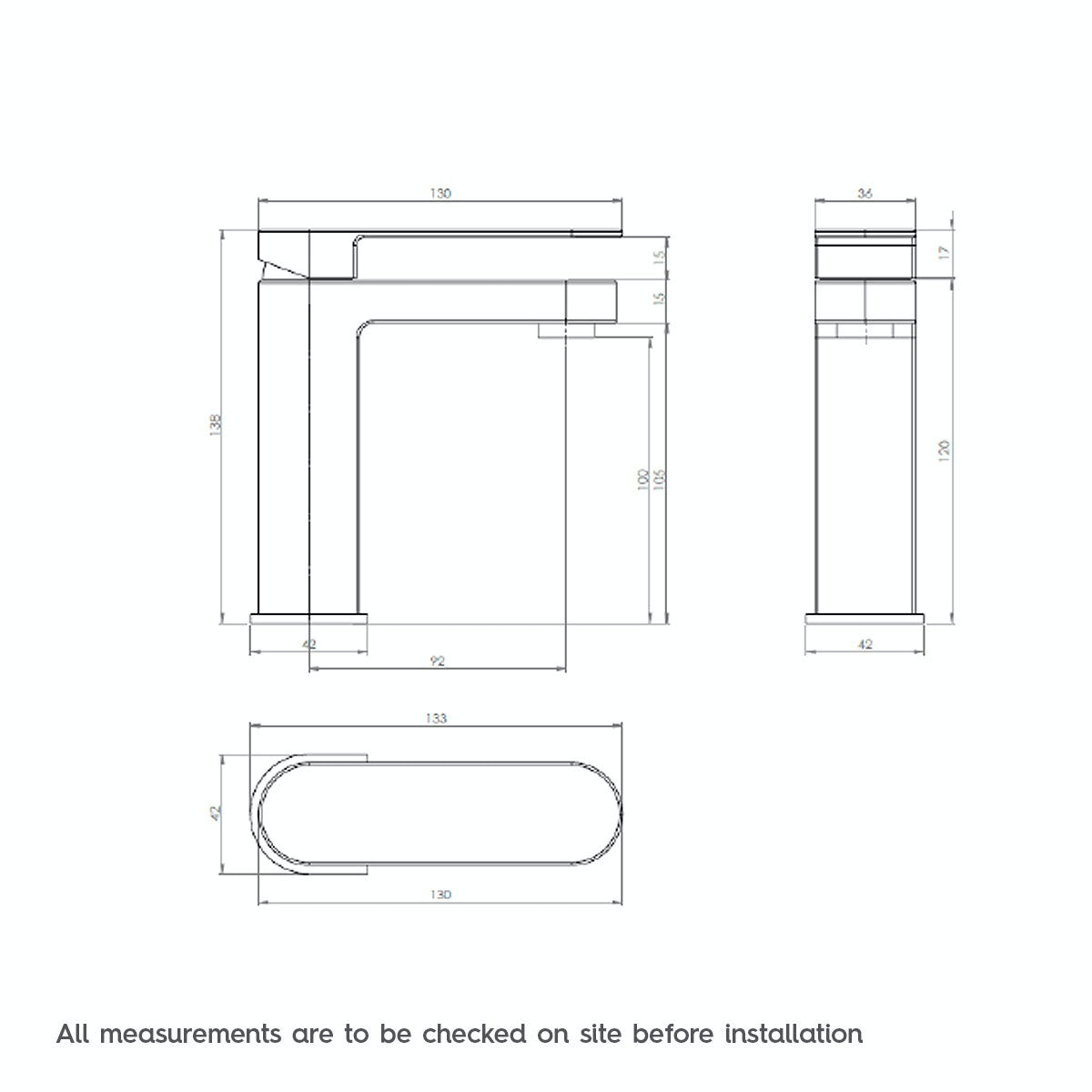 Dimensions for Mode Hardy basin mixer tap